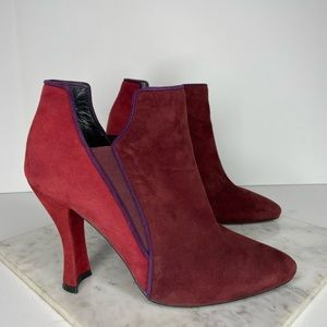 Stuart Weitzman Red Colorblock Suede Ankle Boots